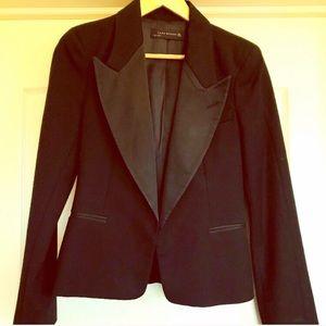 ZARA Black Wool Jacket with Satin Lapels SZ S